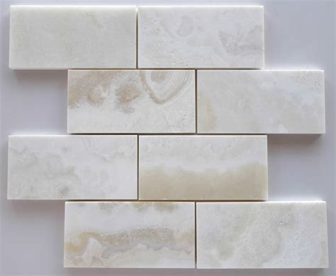 premium white onyx cross cut 3 x 6 subway brick polished