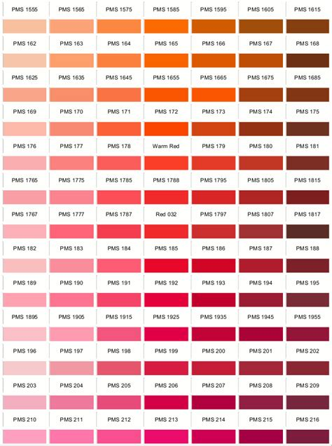 shades of red list pantone colours