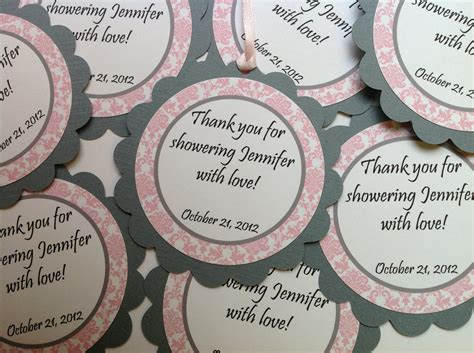 Baby Shower Favor Tags by Baby Shower Favor Tags It S A Pink And Gray Damask