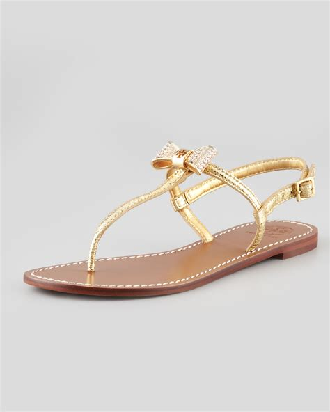 gold burch sandals burch bryn pavebow sandal gold in gold lyst