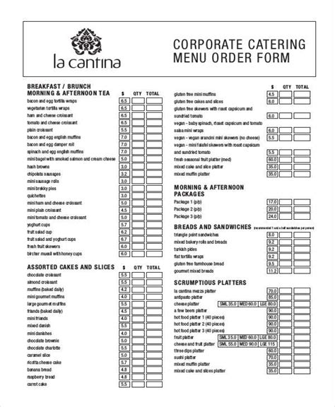 14 Catering Order Forms Free Sles Exles Format Download Free Premium Templates Catering Order Form Template Word