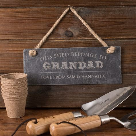 Signs For Sheds by Personalised Hanging Slate Sign Grandad S Shed