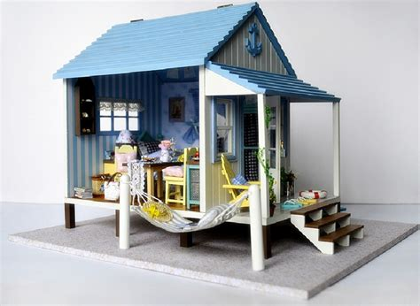 beach doll house miniature dollhouse diy kit beach house with voice control light and music box ebay