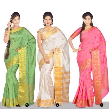 revathi pattern works buy revathi collection of 3 south silk sarees by zuri