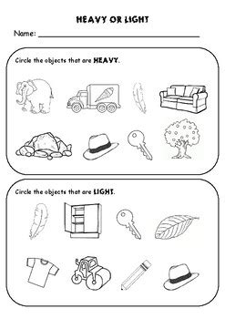 heavy and light cut and paste worksheets geotwitter kids
