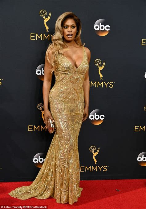 Red And Blue Valance Laverne Cox Dazzles The 2016 Emmy Awards Daily Mail Online