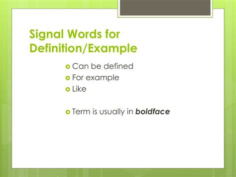 definition pattern signal words ppt patterns of organization and signal words powerpoint