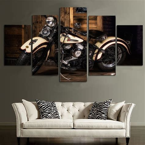 5 panels vintage motorcycle canvas paintings home decor vintage wall picture for living room