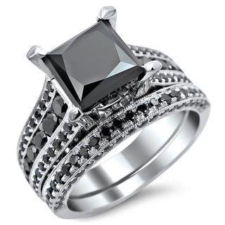 18k White Gold 3.8ct TDW Princess Cut Black Diamond Ring
