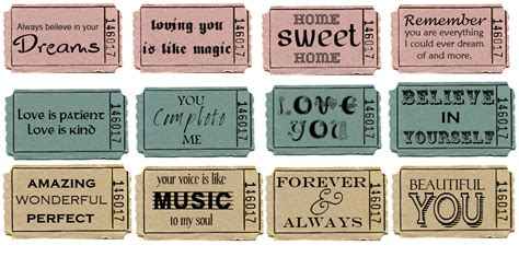 printable vintage tickets sweetly scrapped ticket stub printables with love text