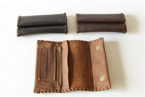 handmade leather tobacco pouch avaliable in three colors