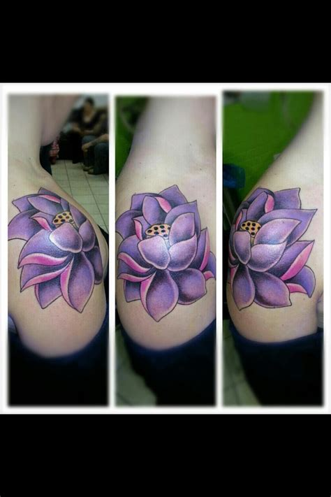 purple lotus tattoo shoulder lotus