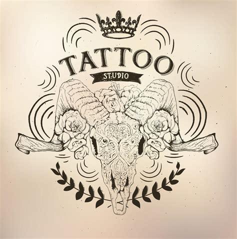 tattoo old school logo tattoo old school studio skull ram stock vector