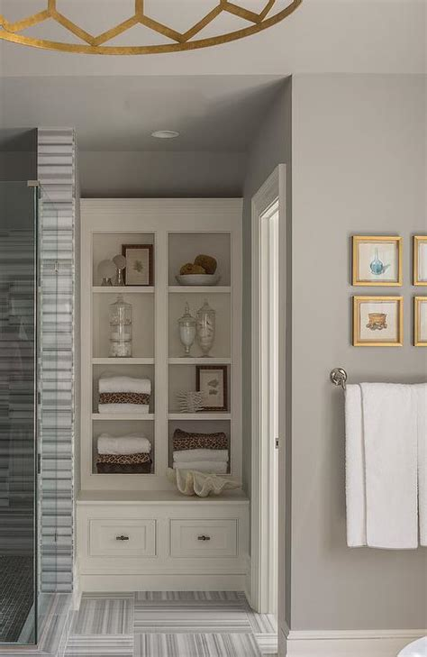 Built In Shelves In Bathroom White And Gray Striped Bathroom Tiles Design Ideas