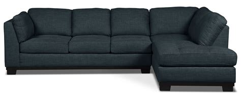 Oakdale 2 Piece Linen Look Fabric Right Facing Sectional Denim Sofa Bed