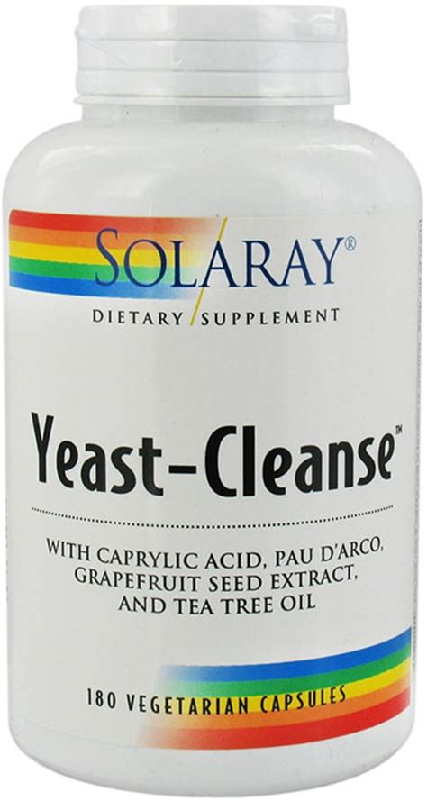 Yeast Fungal Detox For Dogs by Solaray Yeast Cleanse 180 Vegetarian Capsules 30 Servings