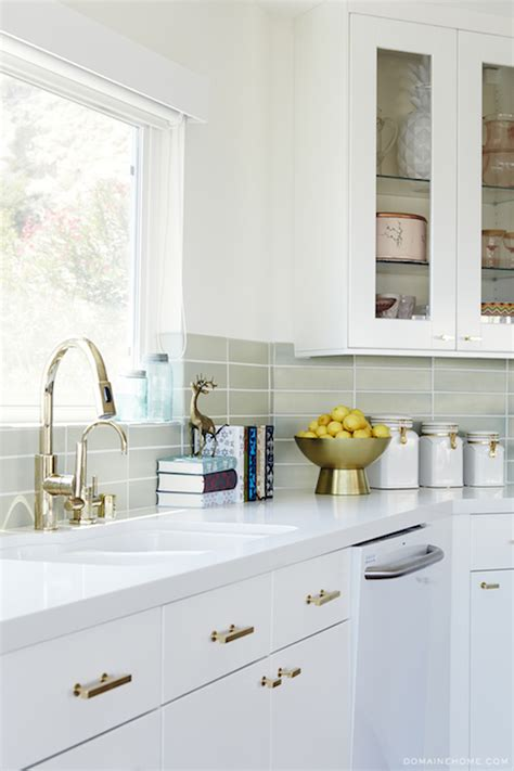 Brass Handles For Kitchen Cabinets Mint Green Kitchen Cabinets With Brass Pulls Contemporary Kitchen