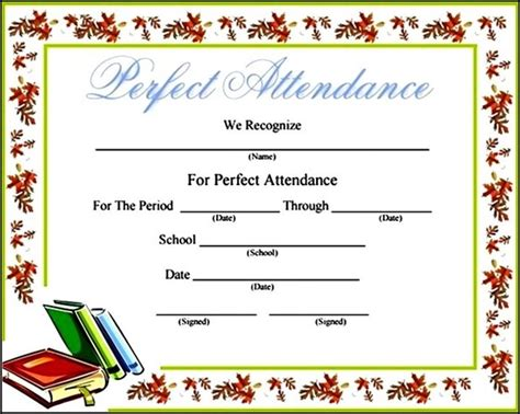 attendance certificates free templates free blank printable attendance certificate template