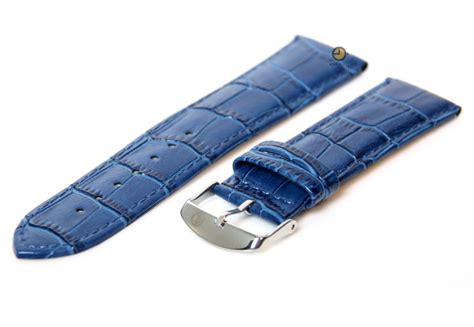 Hb Croco Doff Blue blue leather watchstrap 22mm discount