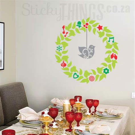 Christmas Wall Art Stickers christmas wreath wall art sticker stickythings wall