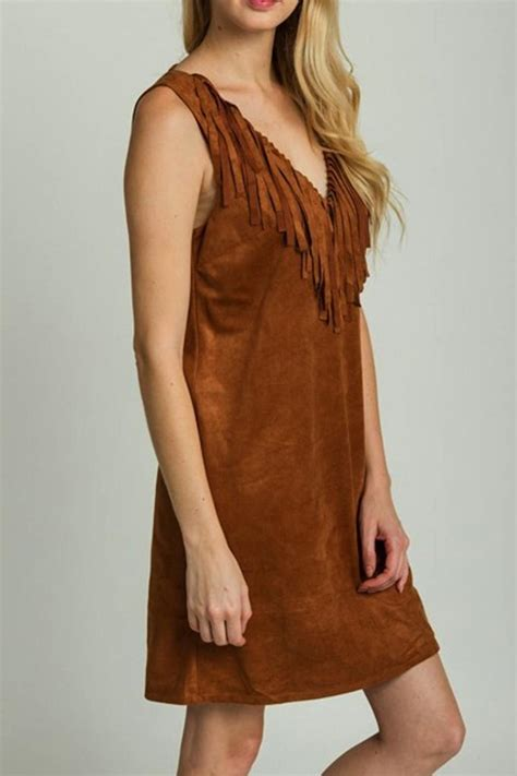 Shoo Bsy Brown yipsy suede fringe dress from louisiana by yipsy boutique