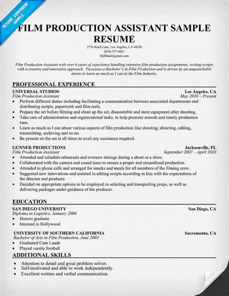 Production Resume Template resume sles entertainment industry