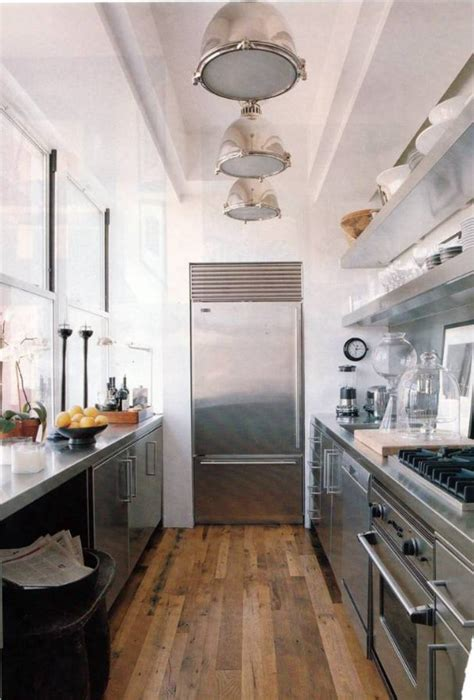 marvelous Galley Kitchen Floor Plans #1: impressive-modern-galley-kitchen-floor-plans-with-stainless-open-shelving-and-big-refrigerator-also-cool-modern-pendant-lights-along-with-wooden-floor-panels-ideas-pictures-of-open-floor-plan-kitchens.jpg