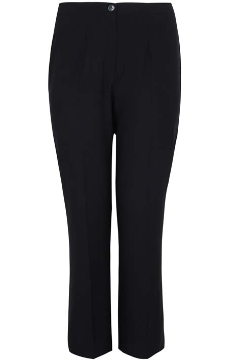 div placement black leg trousers with elasticated waist