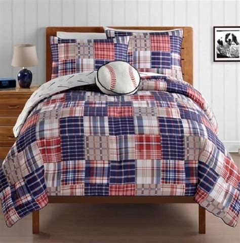 Boys Plaid Comforter Set by Blue Boys Reversible Baseball Sports Plaid Comforter Bedding Set Kid S Rooms
