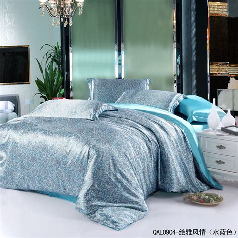 queen size comforter cover aqua blue paisley mulberry silk comforter bedding set for