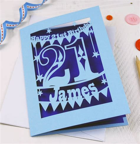 Handmade 21 Birthday Card - personalised papercut 21st birthday card by pogofandango