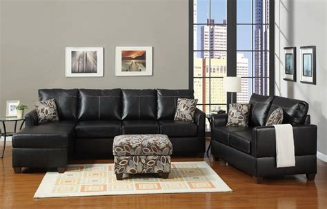 Black Sofa Grey Walls by Black Bonded Leather Living Room Set Sofa Set