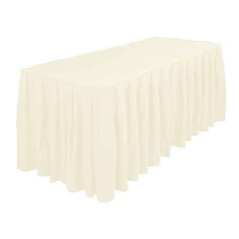 Table Skirting by Polyester Table Skirting 13ft Ivory Prestige Linens