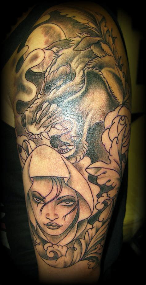hood tattoos designs wolf edit