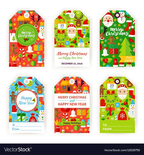 merry christmas gift tag labels royalty  vector image