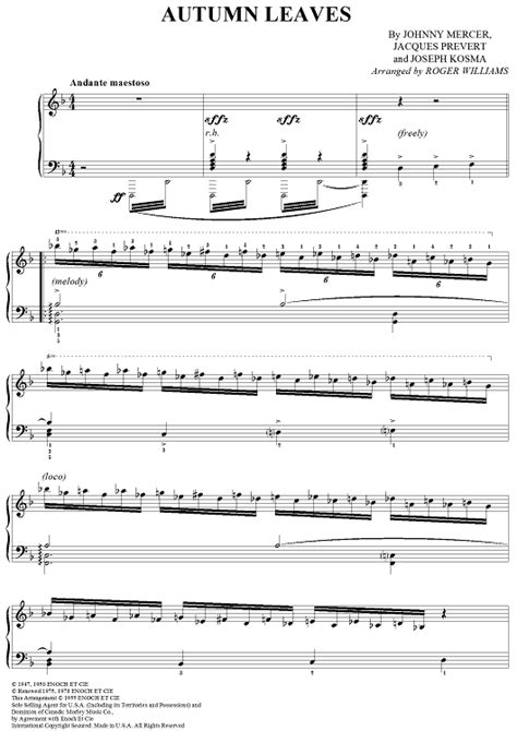 tutorial piano autumn leaves autumn leaves sheet music music for piano and more