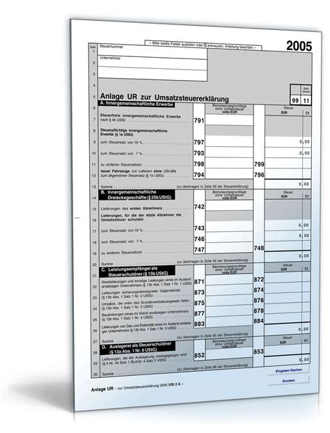 Musterbriefe Software Umsatzsteuererkl 228 Rung 2005 Anlage Ur Formular Zum