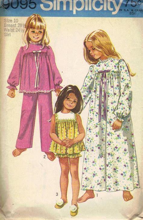pattern sleep shirt simplicity sewing pattern 1970s pajamas girls nightgown