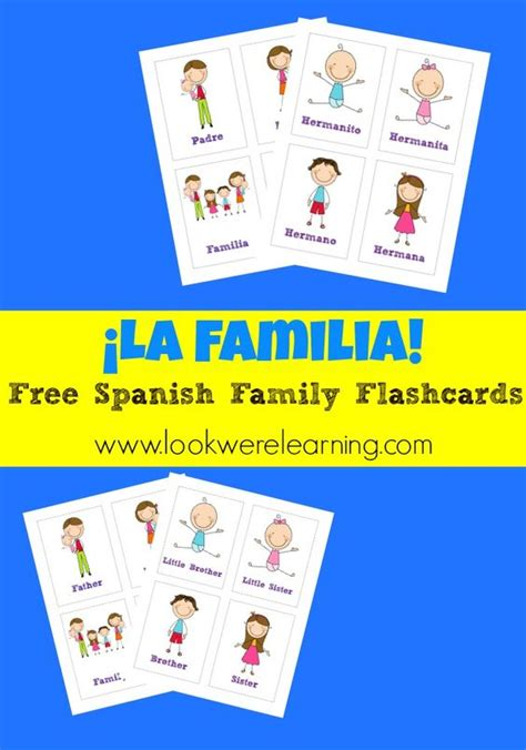 free printable spanish flashcards free printable flashcards spanish family flashcards