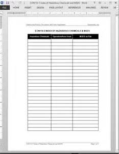 sds template chemicals msds index template