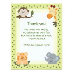 Thank You Note Template Baby Shower by Jungle Safari Animals Baby Shower Thank You Notes 4 25x5 5