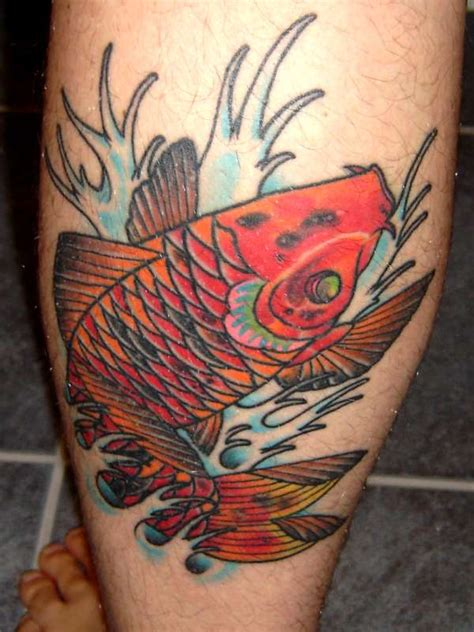 koi fish calf tattoo koi left calf tattoo