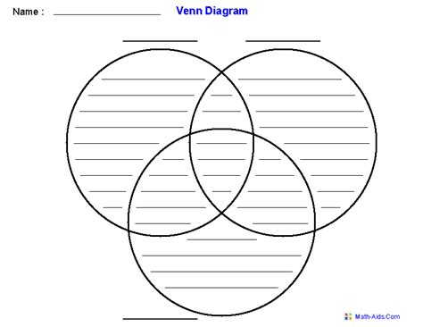 3 circle venn diagram venn diagram worksheets dynamically created venn diagram