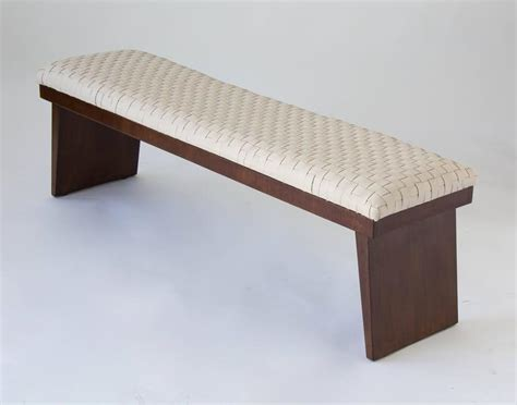 woven leather bench walnut bench with woven leather seat for sale at 1stdibs
