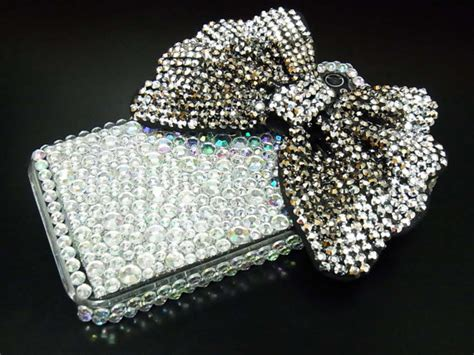 Harcase Bling Bling bling rhinestone shine silver black bow back cover for apple iphone 4