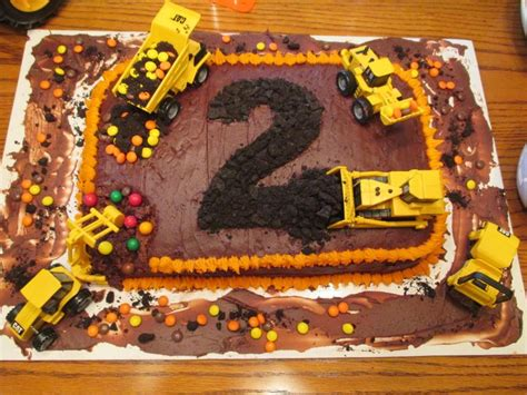 colters  birthday party construction cake bulldozer dump truck excavator digger steam