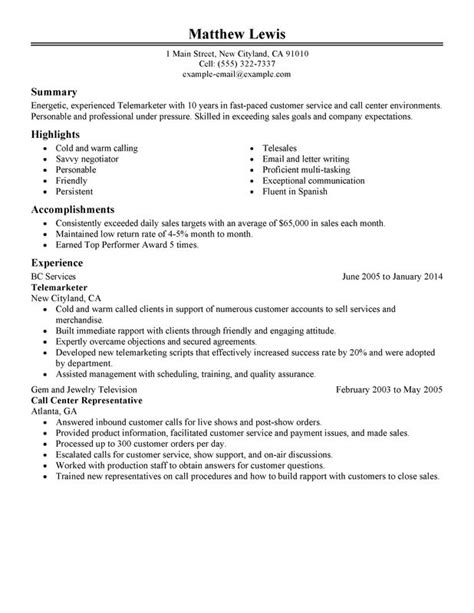 Resume Sle For Telemarketing Sales Experienced Telemarketer Resume Sle My Resume