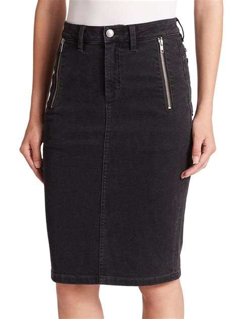 marc by marc stretch denim pencil skirt in black