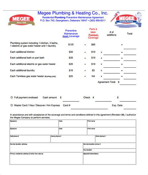 plumbing contract template 9 plumbing contract templates free word pdf format