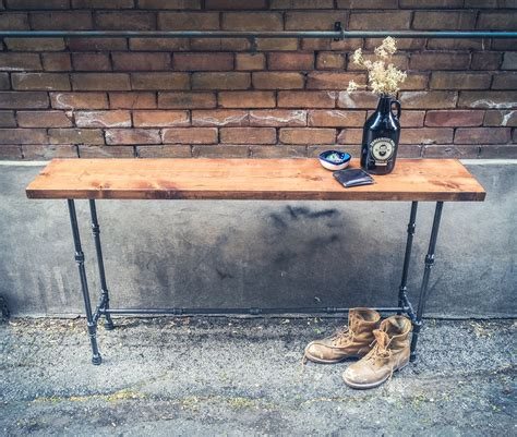 industrial pipe sofa table wood and pipe console table rustic console table